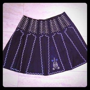 Alya navy/white embroidered pattern circle skirt